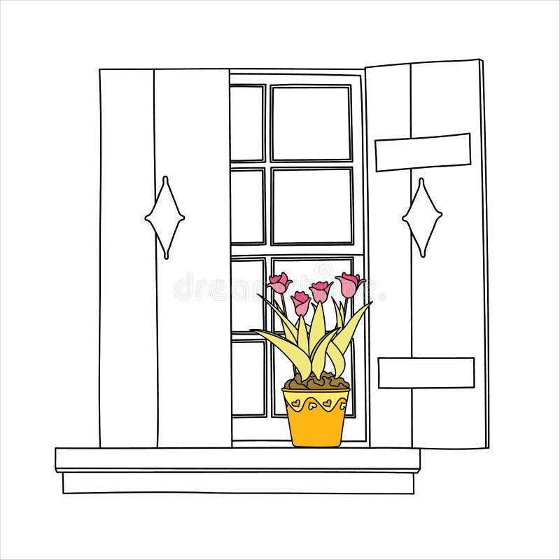 Uitstekend venster met bloemen royalty-vrije illustratie