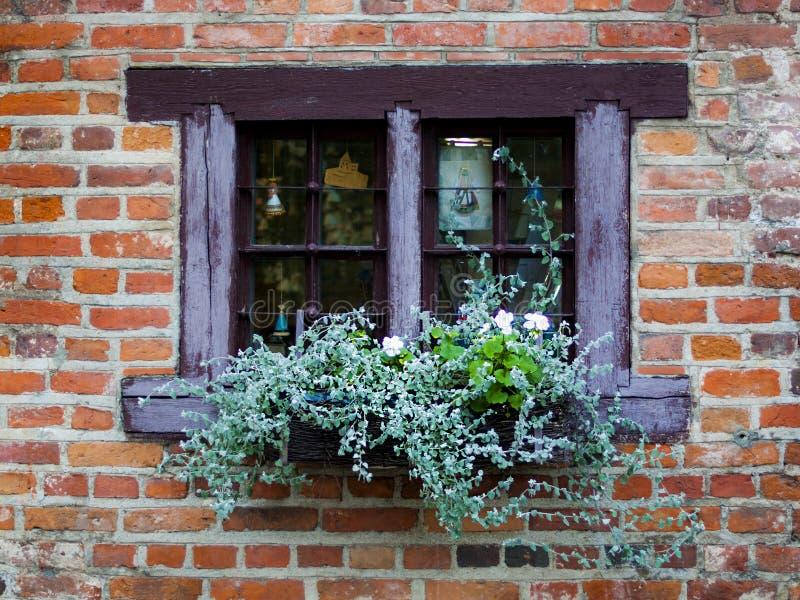 Uitstekend venster met bloemen en blinden in Litouwen royalty-vrije stock fotografie