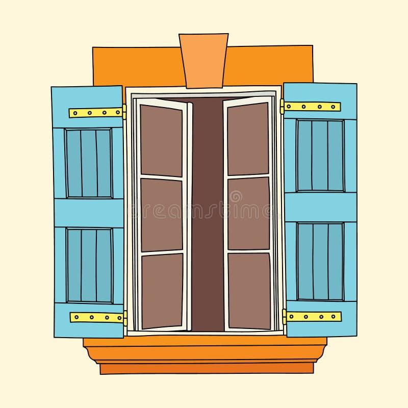 Uitstekend venster op roomachtergrond stock illustratie