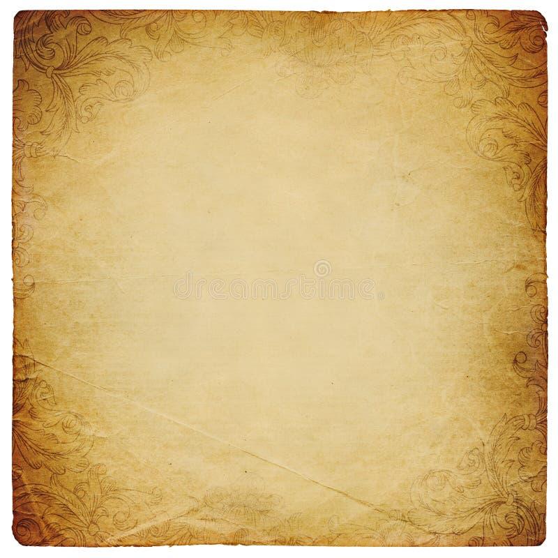Uitstekend vierkant gevormd het document van Ornated blad. vector illustratie
