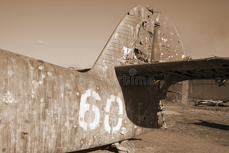 Uitstekend vliegtuig in sepia royalty-vrije stock foto's