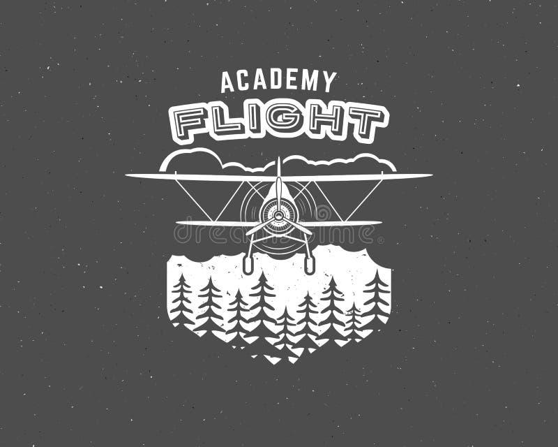 Uitstekend vliegtuigembleem Tweedekkeretiket Retro Vliegtuigkenteken, ontwerpelementen Luchtvaartzegel Airshowembleem en logotype vector illustratie