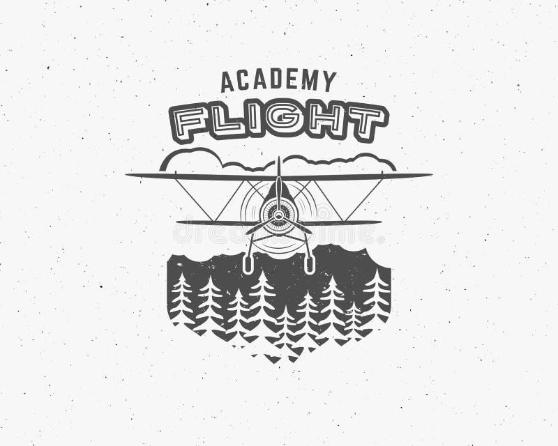 Uitstekend vliegtuigembleem Tweedekkeretiket Retro Vliegtuigkenteken, ontwerpelementen Luchtvaartzegel Airshowembleem en logotype stock illustratie