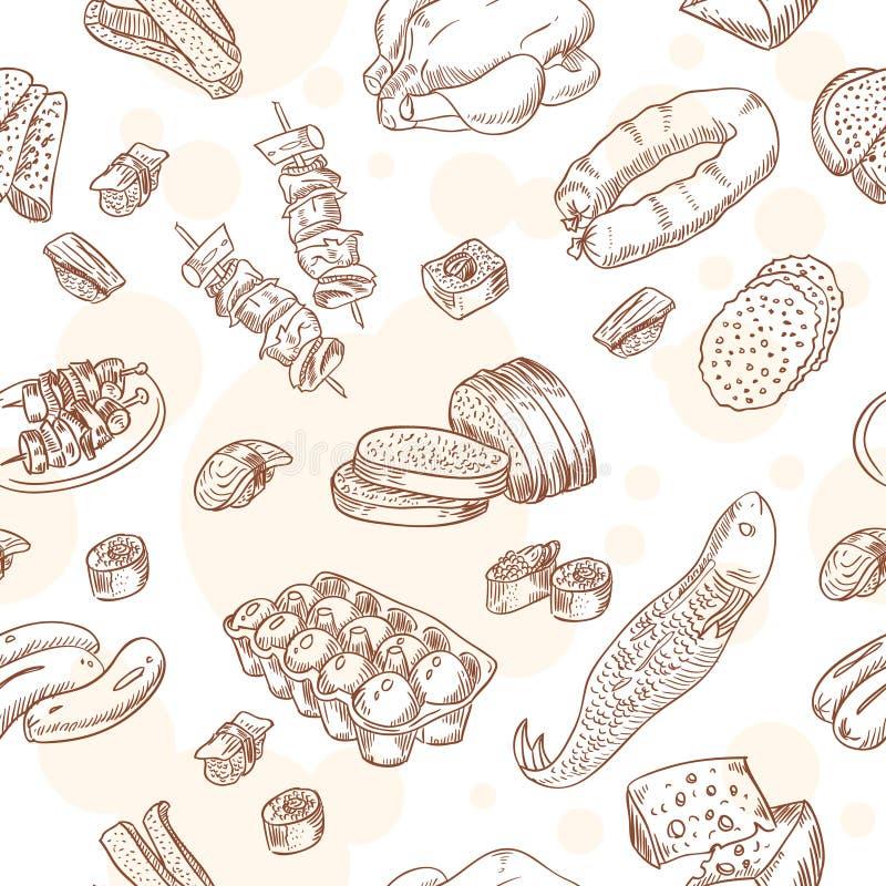 Uitstekend voedsel vastgesteld naadloos patroon stock illustratie