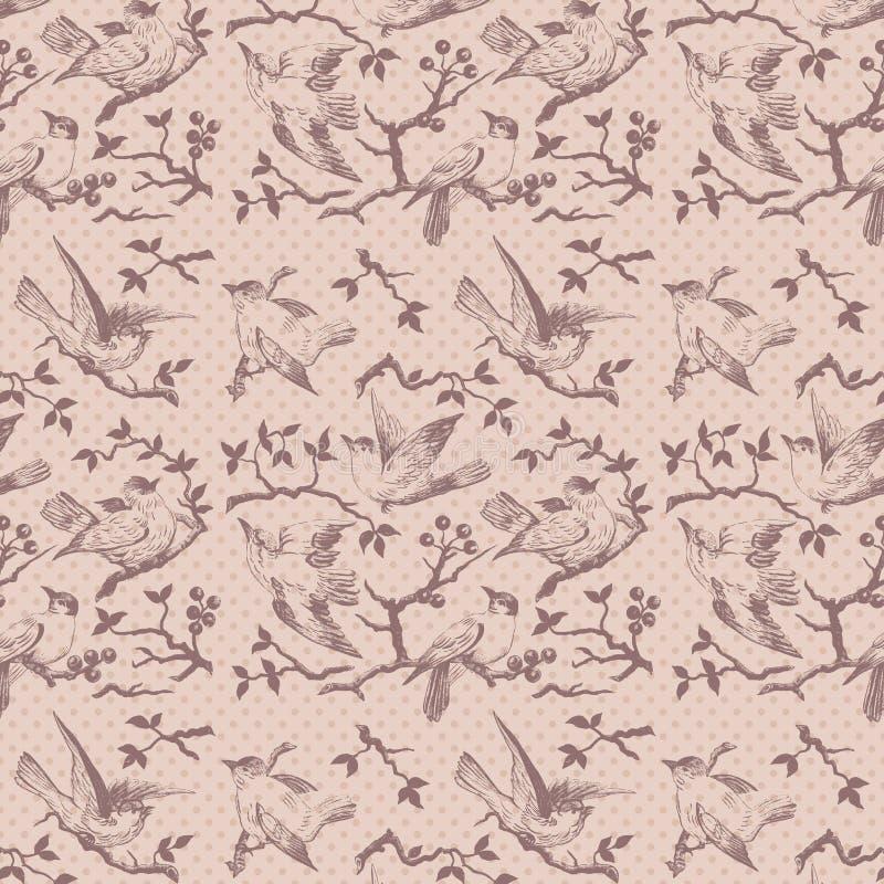 Uitstekend vogel naadloos herhaalbaar patroon in roze stock illustratie