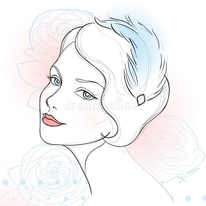 Uitstekend vrouwenportret vector illustratie