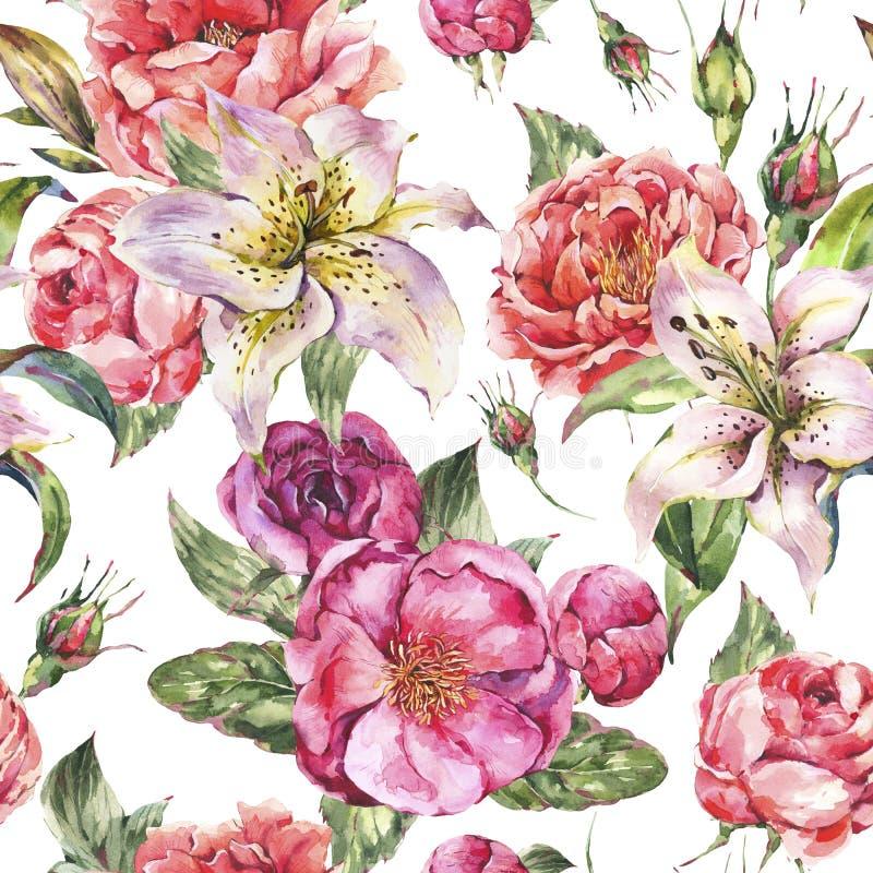 Uitstekend Waterverf Naadloos Patroon met Bloeiende Bloemen Rozen en Pioenen, Koninklijke Lelies royalty-vrije illustratie
