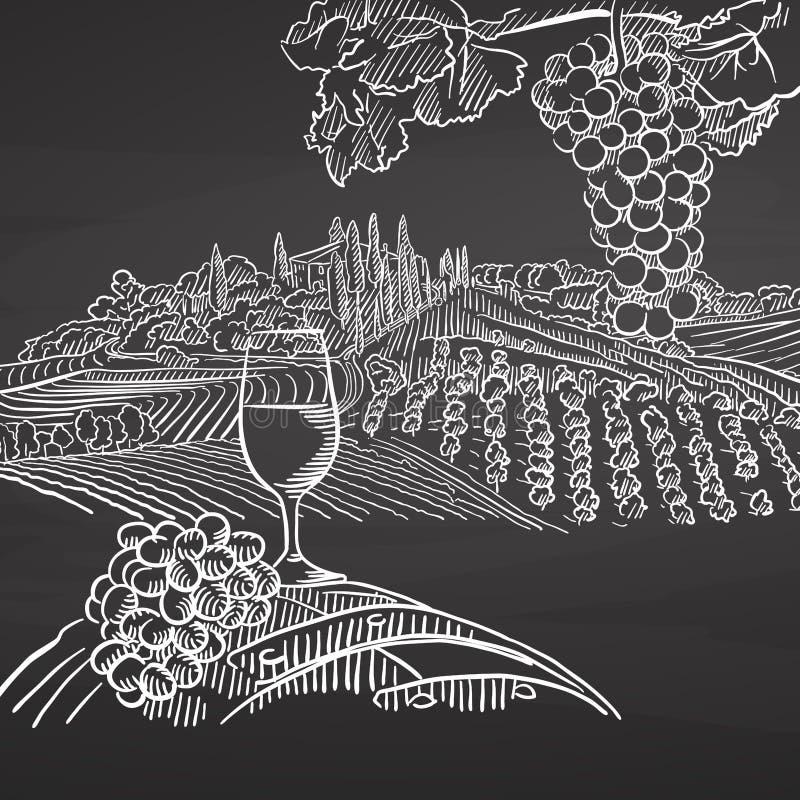 Uitstekend wijn en landschap op bord royalty-vrije illustratie