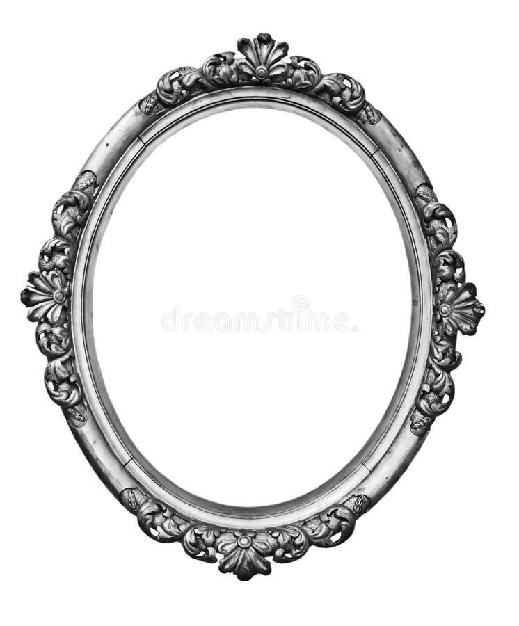 Uitstekend zilveren ovaal kader stock afbeelding