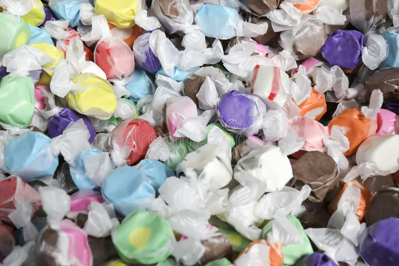 Uitstekend Zout Water Taffy Candies stock afbeeldingen