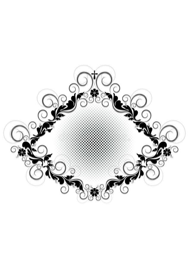 Uitstekend zwart kader met bloemenpatroon, bloemen en kruis op witte achtergrond royalty-vrije illustratie