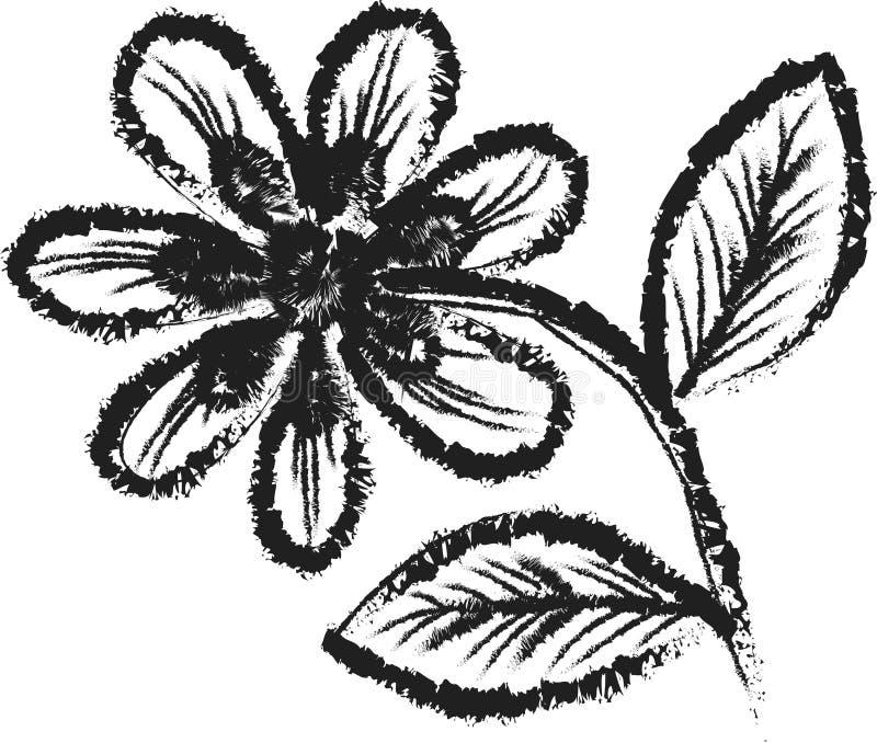 Uitstekend zwart-wit bloem geïsoleerd art. stock fotografie
