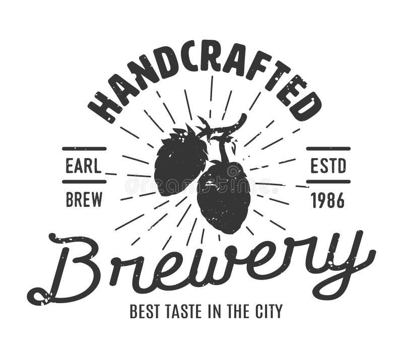 Uitstekend zwart-wit brouwerij logotype concept royalty-vrije illustratie