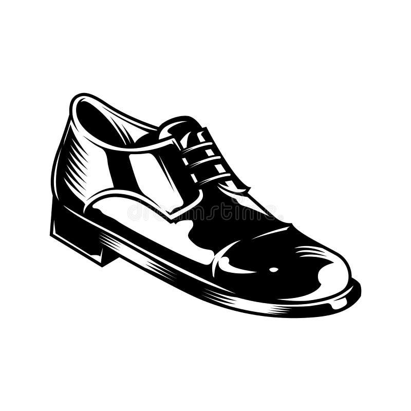 Uitstekend zwart-wit de schoenconcept van het mensenleer royalty-vrije illustratie