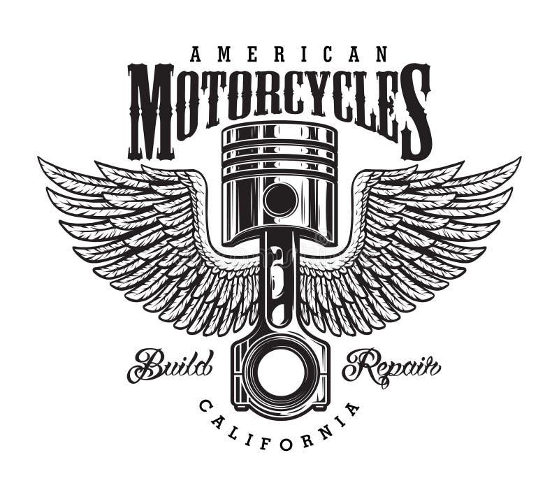 Uitstekend zwart-wit motorfietsetiket royalty-vrije illustratie