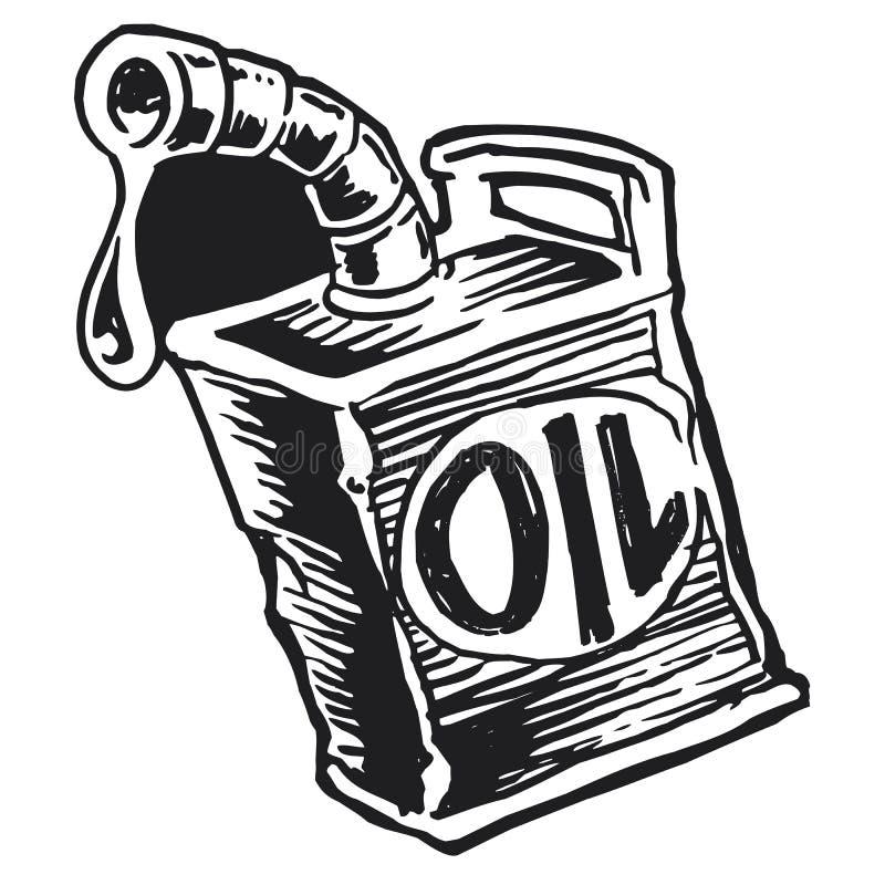 Uitstekend zwart-wit olieblik vector illustratie