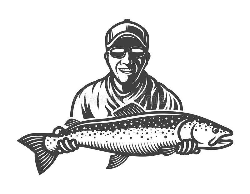 Uitstekend zwart-wit visserijconcept royalty-vrije illustratie
