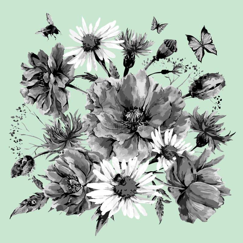 Uitstekend zwart-wit waterverfboeket van stock illustratie