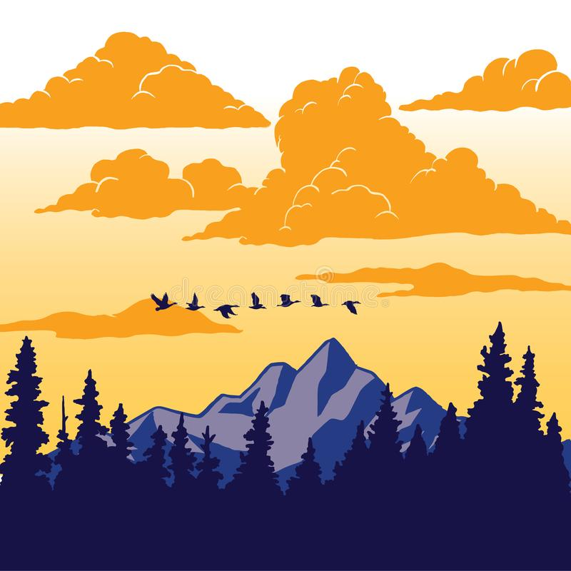 Uitstekende Aardaffiche - Vogels die over berg vliegen stock illustratie
