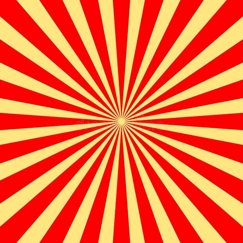 Uitstekende abstracte de stralenvector van de achtergrondexplosiezon vector illustratie