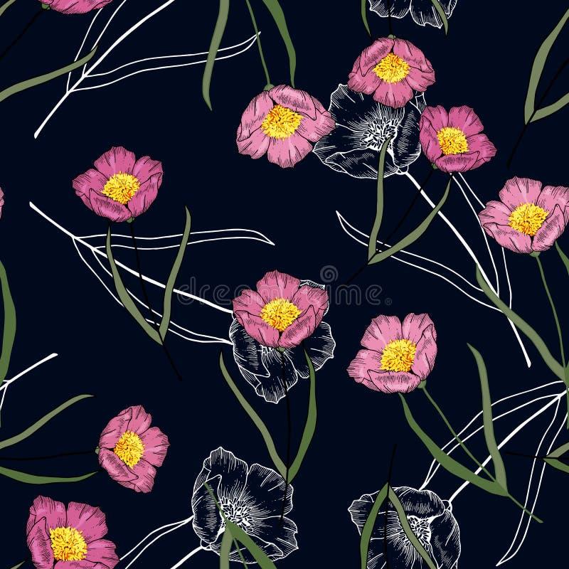 Uitstekende achtergrond bloeiende realistische geïsoleerde bloemdruk van rozen Hand getrokken vectorillustratie Retro wilde naadl stock illustratie