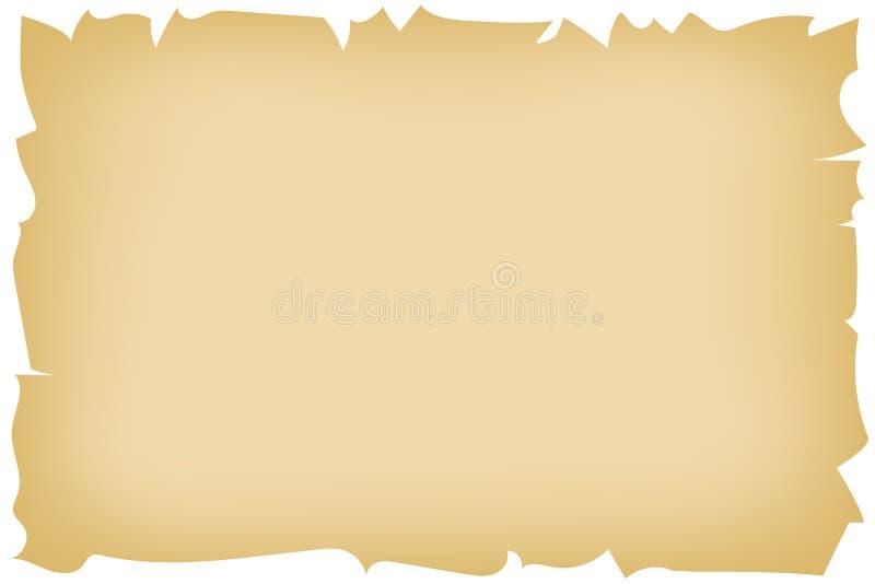 Uitstekende achtergrond die bruin gebrand oud document met haveloze randen voor het ontwerpen van oud-manierillustratie imiteren, stock illustratie