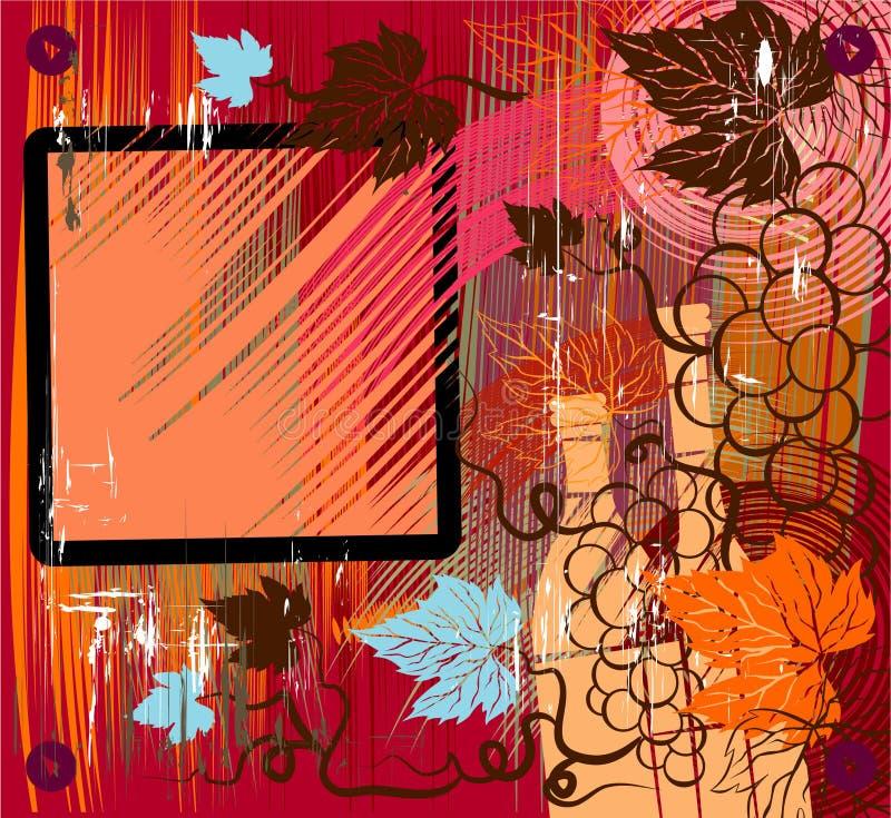 Uitstekende achtergrond met de druiven vector illustratie