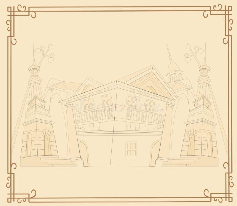 Uitstekende achtergrond met Franse architectuur op witte bedelaars royalty-vrije illustratie
