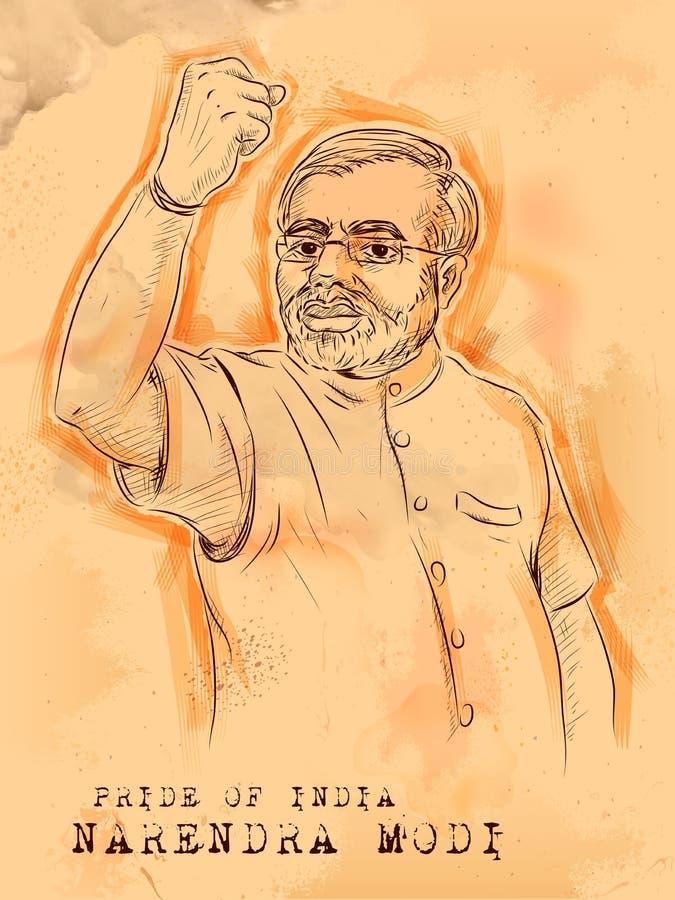 Uitstekende achtergrond met Indische Grote Leider Narendra Modi vector illustratie