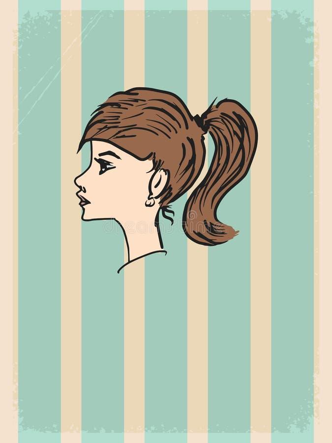 Uitstekende achtergrond met jong meisje stock illustratie