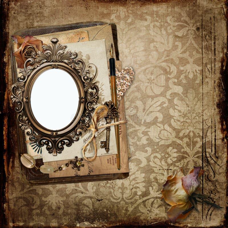 Uitstekende achtergrond met kader en oude brieven, langzaam verdwenen rozen stock illustratie