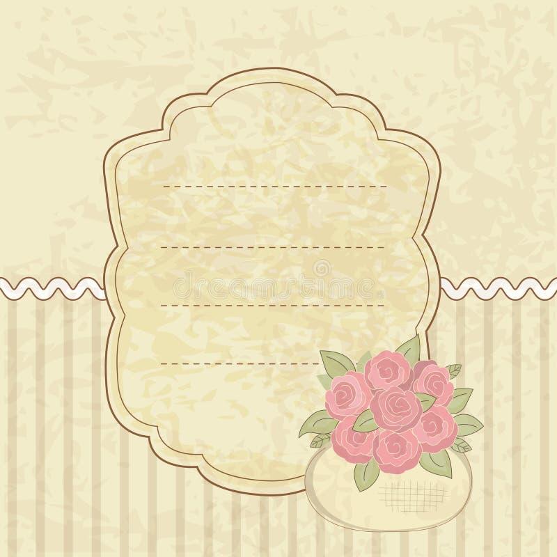 Uitstekende achtergrond met mand van bloemen stock illustratie
