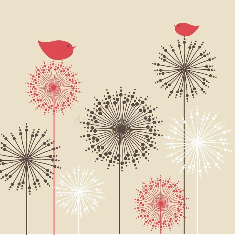 Uitstekende achtergrond met rode vogels en bloemen stock illustratie