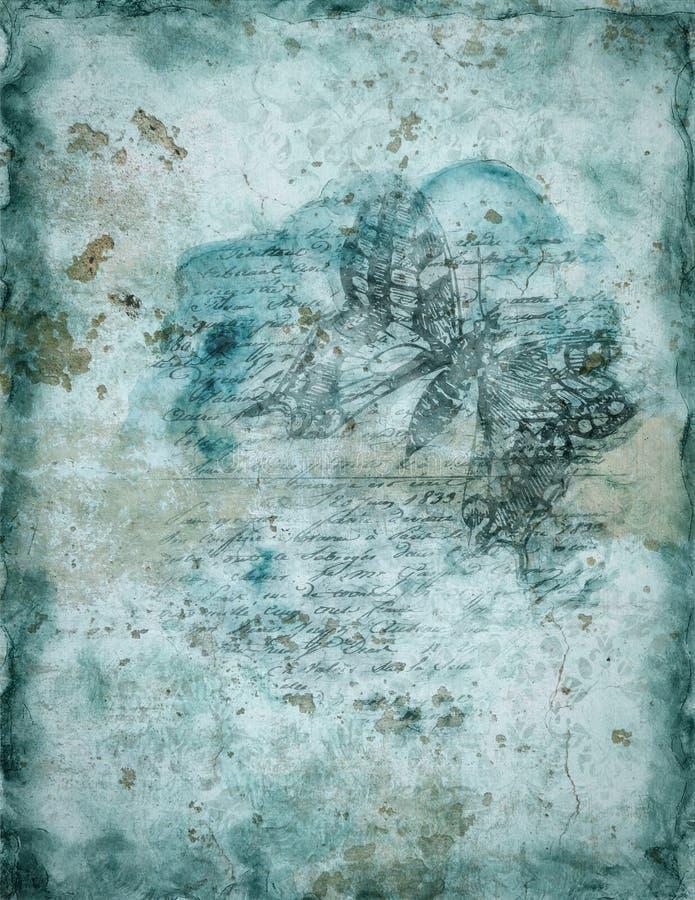 Uitstekende achtergrond met vlinder royalty-vrije illustratie