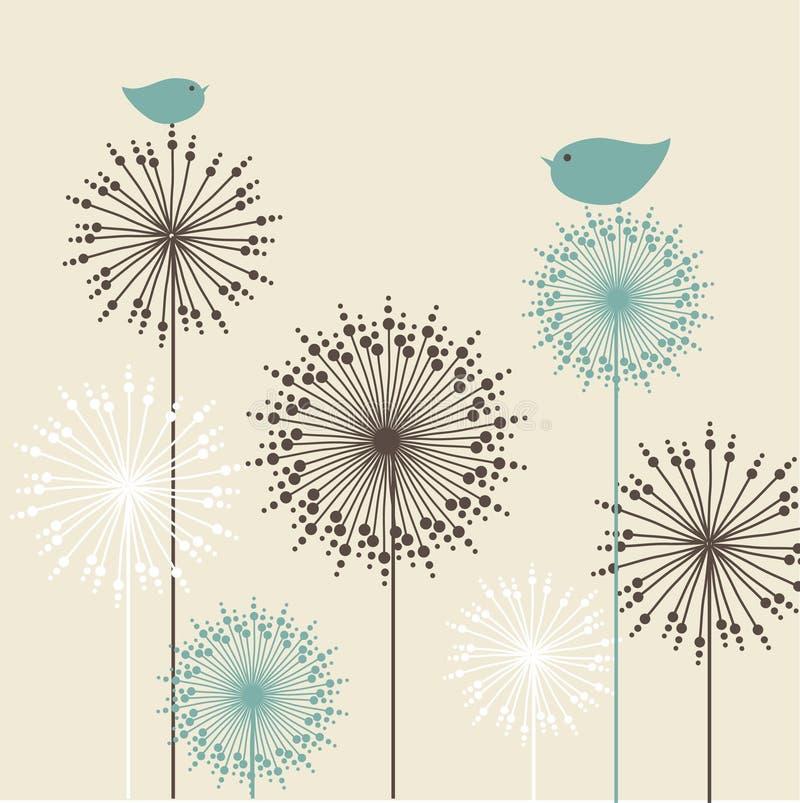 Uitstekende achtergrond met vogels en bloemen stock illustratie