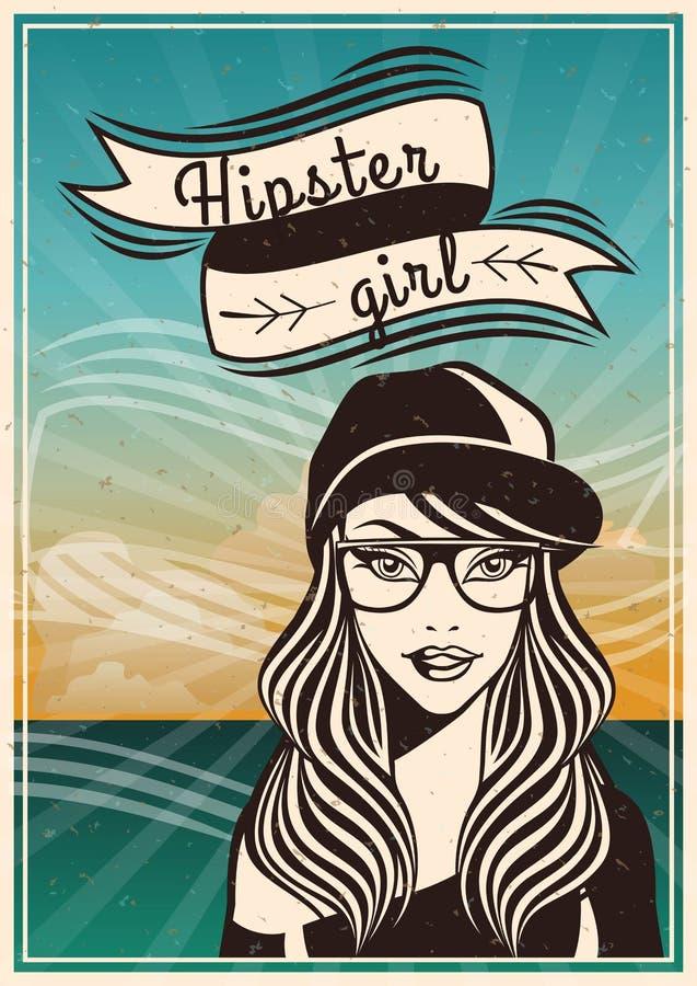 Uitstekende achtergrond mooie meisjes hipster Stijl Sjofel met grungeborstels Manierlint in hipsterstijl met tekst stock illustratie