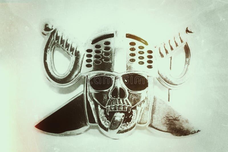 Uitstekende achtergrond, oude de affichedruk van het schedel hoofd Dwarsmes royalty-vrije stock foto