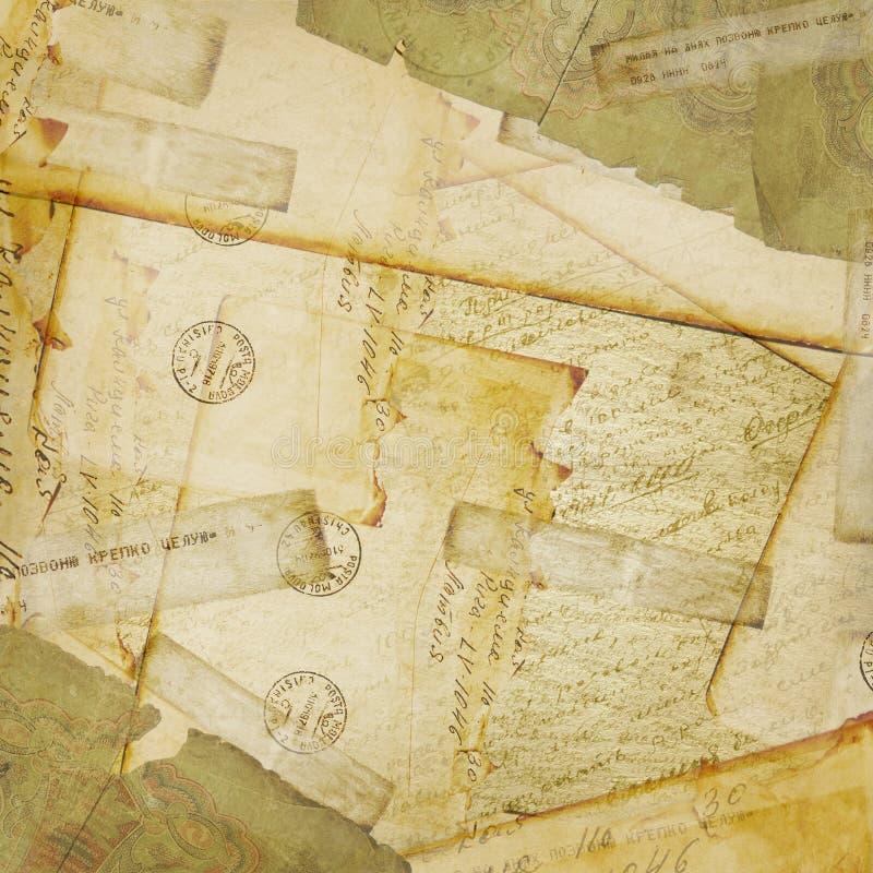 Uitstekende achtergrond, oude Prentbriefkaar en enveloppen vector illustratie