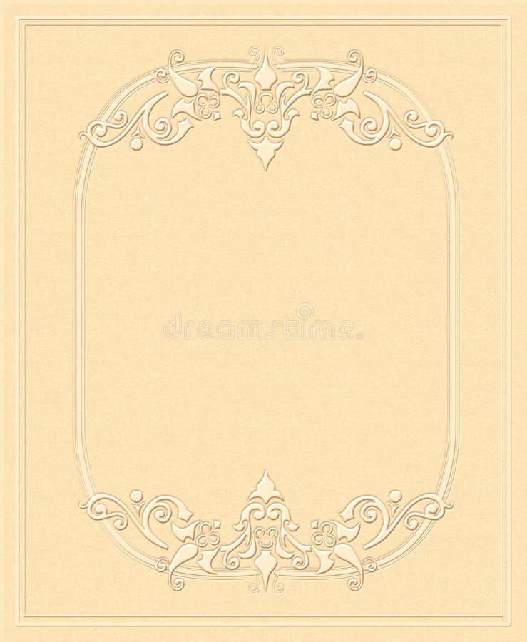Uitstekende achtergrond, in reliëf gemaakt document, antieke groetkaart, uitnodiging met bloemenornamenten vector illustratie