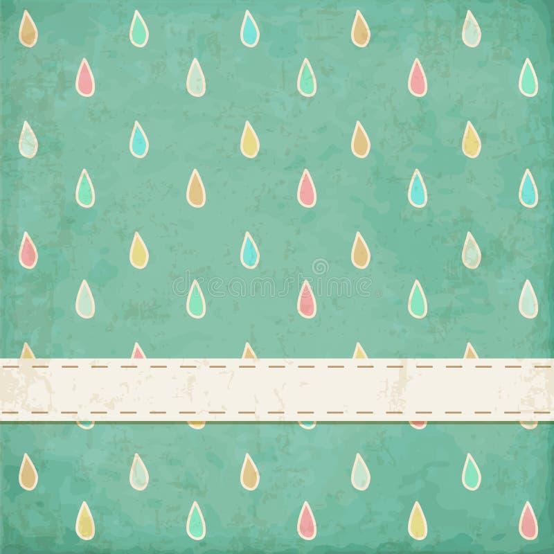 Uitstekende achtergrond. Stip, regendruppels vector illustratie