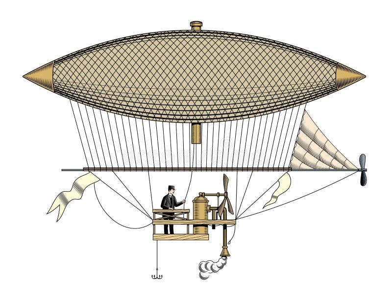 Uitstekende aerostaat of zeppelin, graverende stijl vectorillustratie stock illustratie