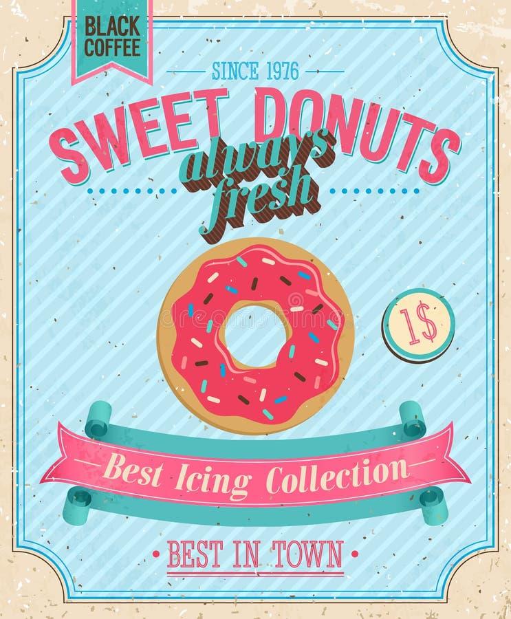 Uitstekende Affiche Donuts. vector illustratie