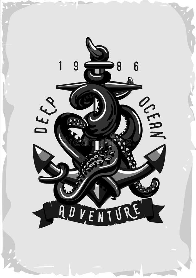 Uitstekende affiche met anker en octopus De stijl van de tatoegering royalty-vrije illustratie