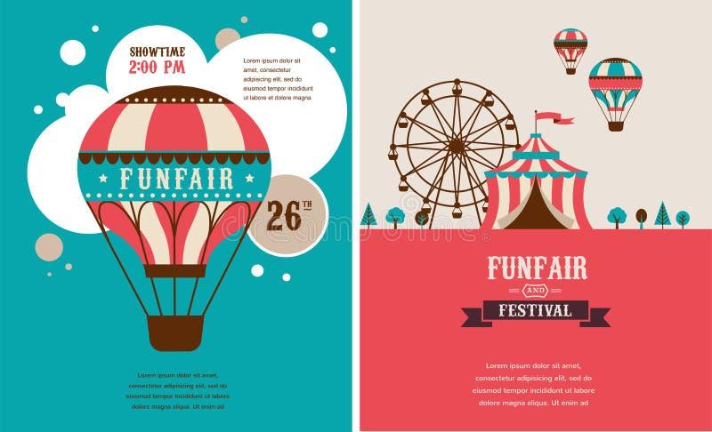 Uitstekende affiche met Carnaval, pretmarkt, circus vector illustratie