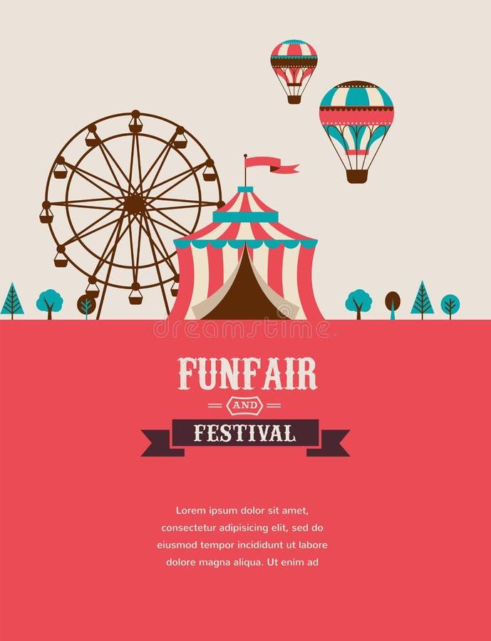 Uitstekende affiche met Carnaval, pretmarkt, circus royalty-vrije illustratie