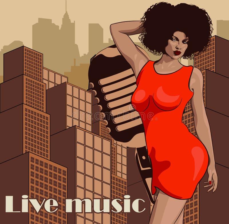 Uitstekende affiche met cityscape, retro vrouwenzanger en maan Rode kleding op vrouw Retro Microfoon De jazz, de ziel en de blauw royalty-vrije illustratie
