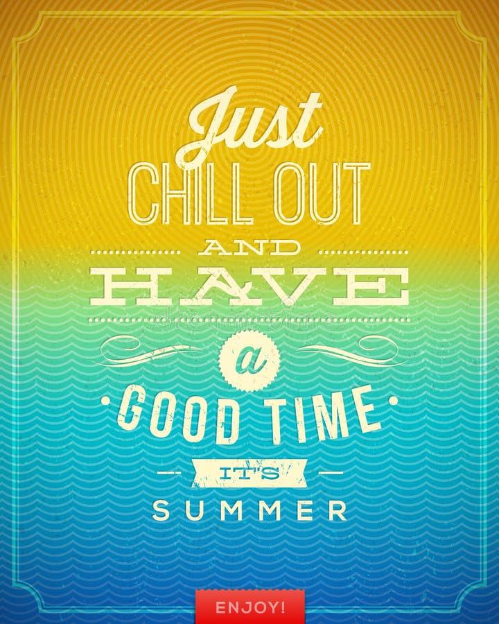 Uitstekende affiche met het citaat van de de zomervakantie
