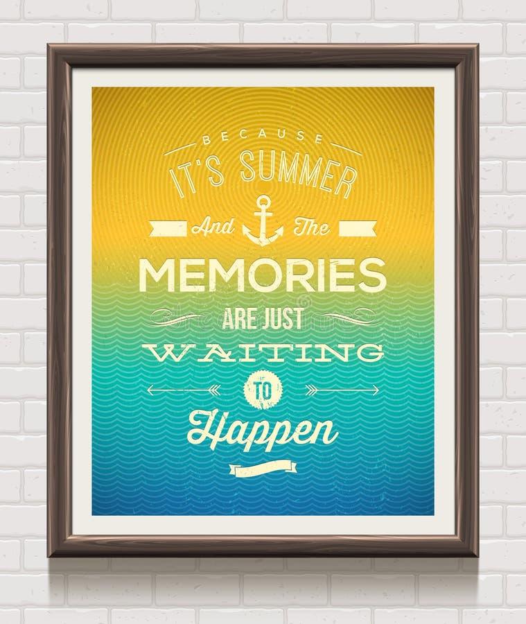 Uitstekende affiche met het citaat van de de zomervakantie royalty-vrije illustratie