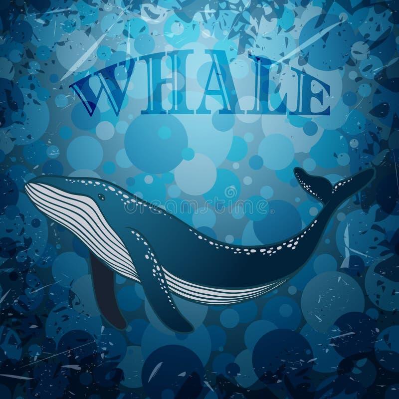 Uitstekende affiche met walvis op mariene grungeachtergrond royalty-vrije illustratie