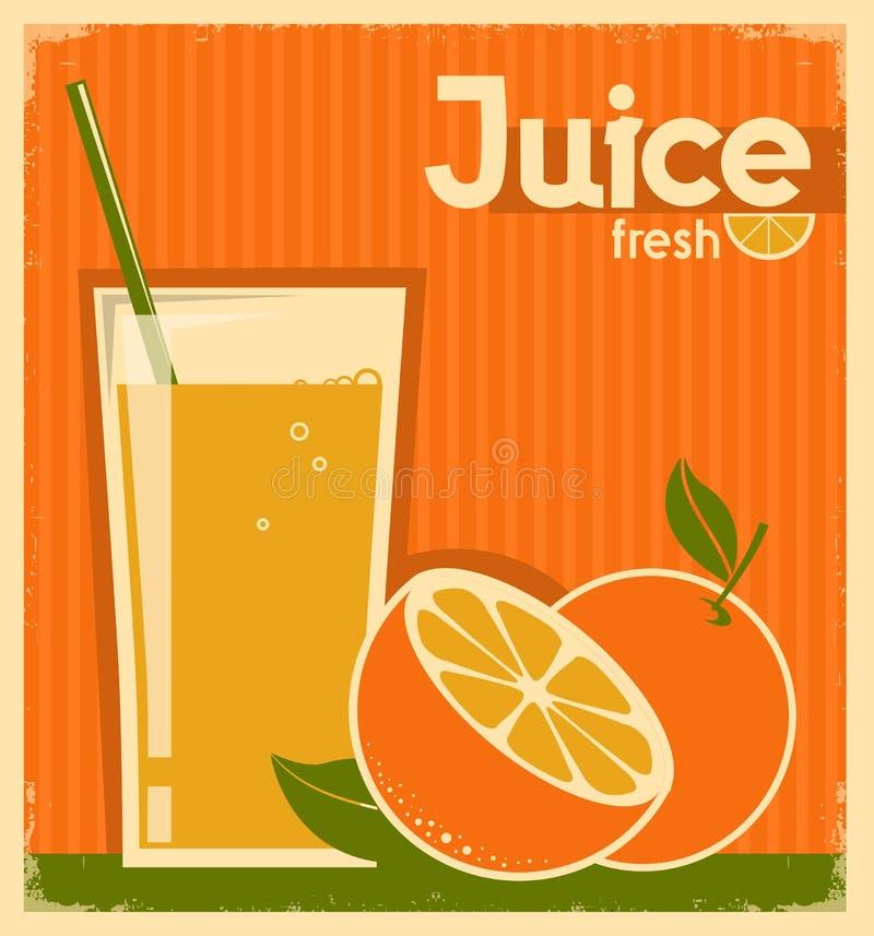 Uitstekende affiche van jus d'orange op oude document textuur vector illustratie